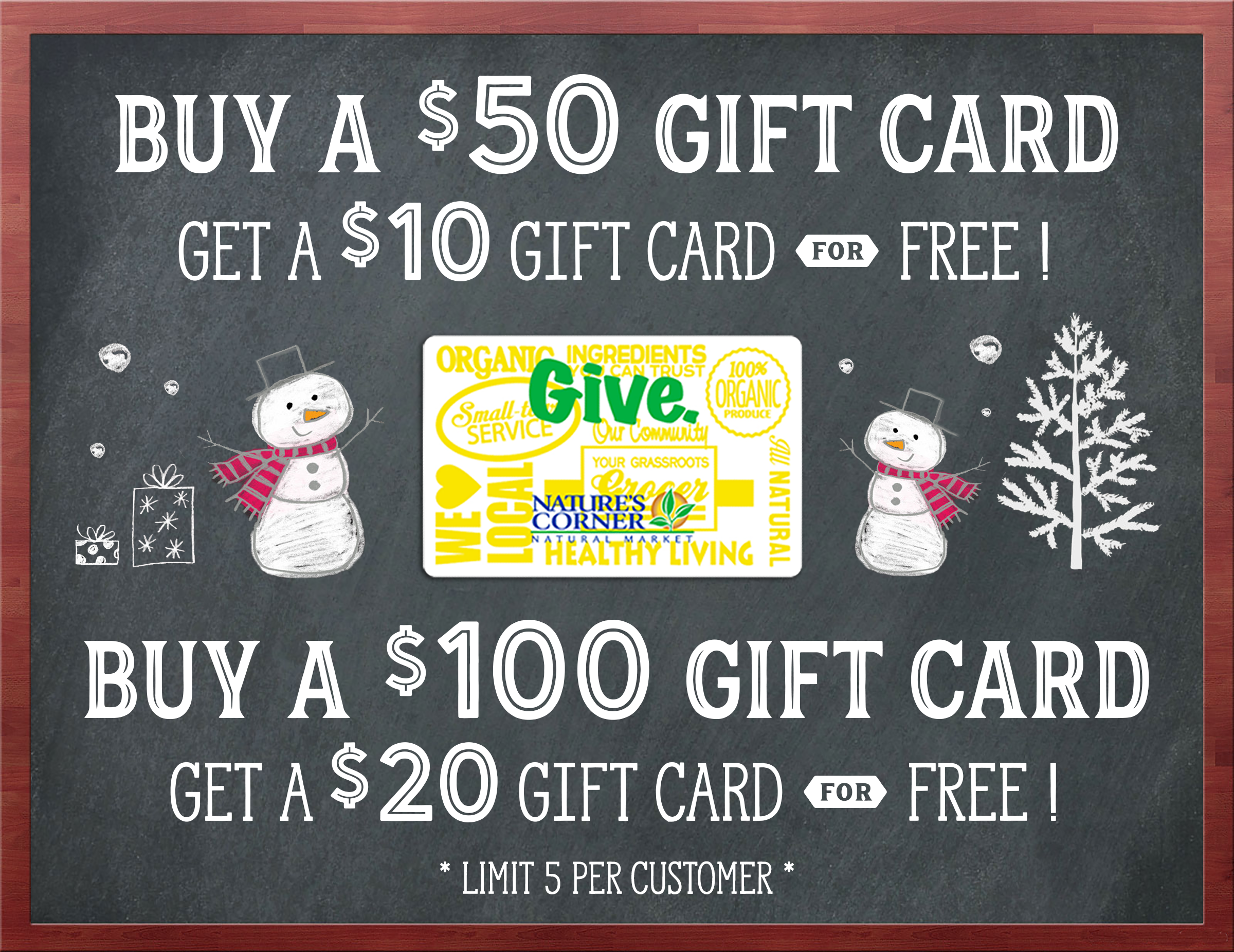 Starts tomorrow holiday gift card sale natures corner natural our annual holiday gift card sale starts tomorrow tuesday december 5th through sunday december 24th when you buy a 50 natures corner gift card negle Images